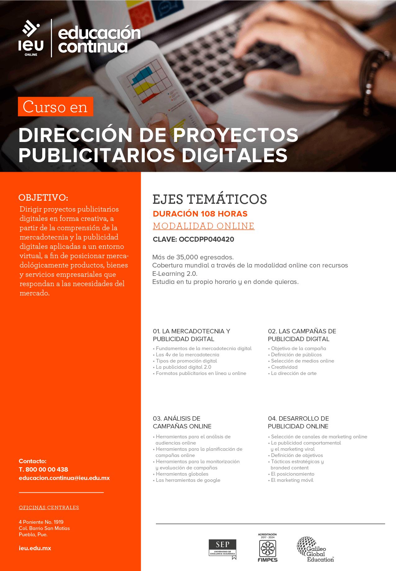 Dirección de proyectos publicitarios digitales