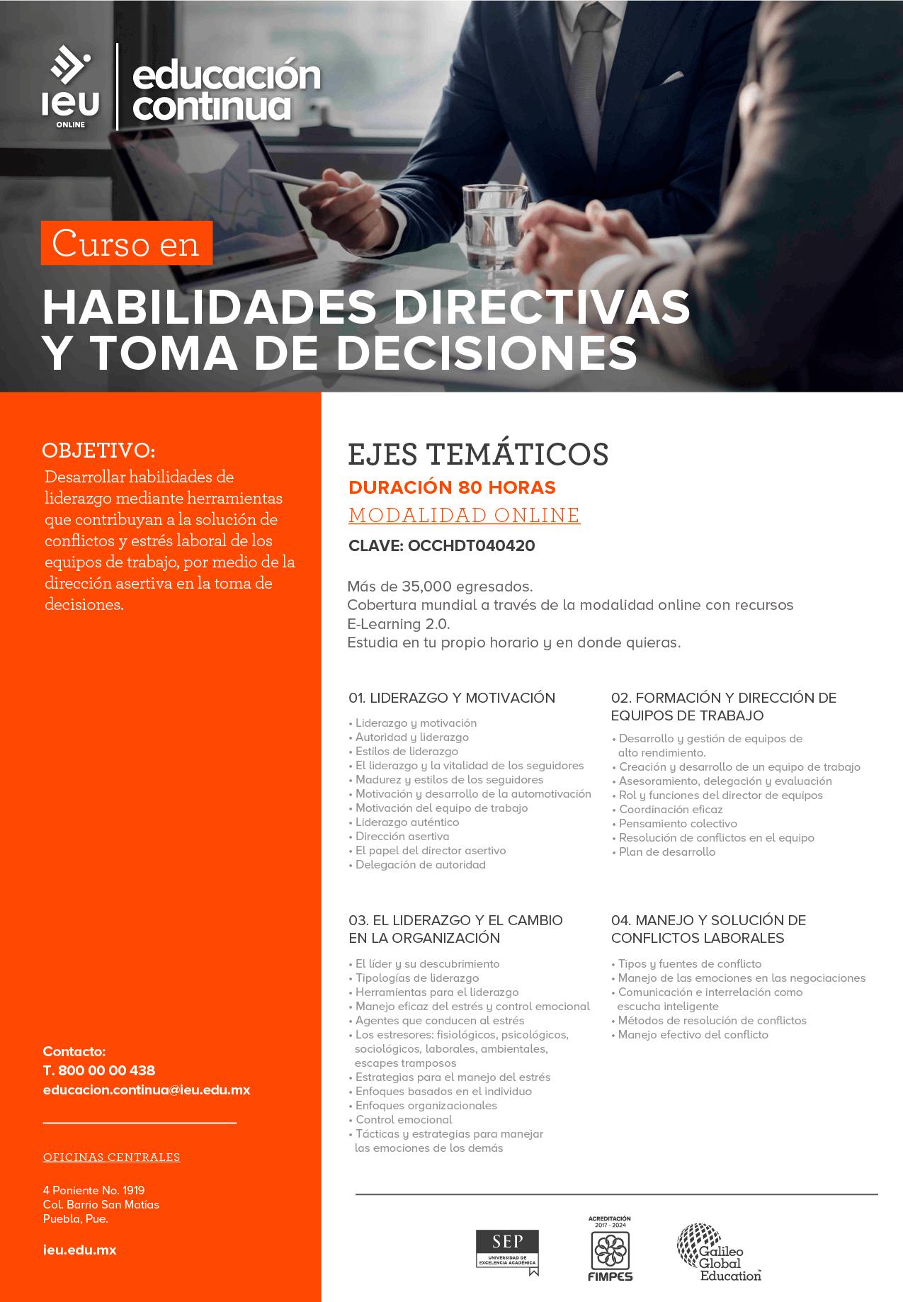 Habilidades directivas y toma de decisiones