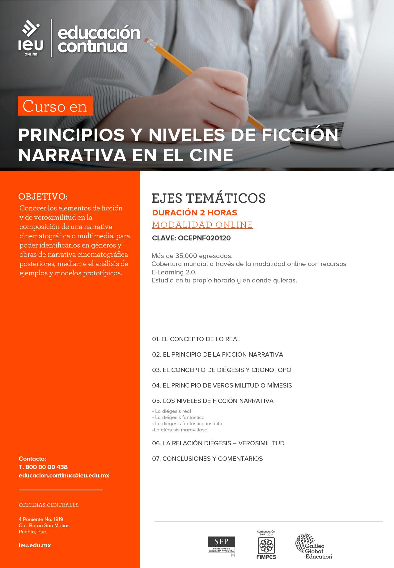 Principios y niveles de ficción narrativa en el cine
